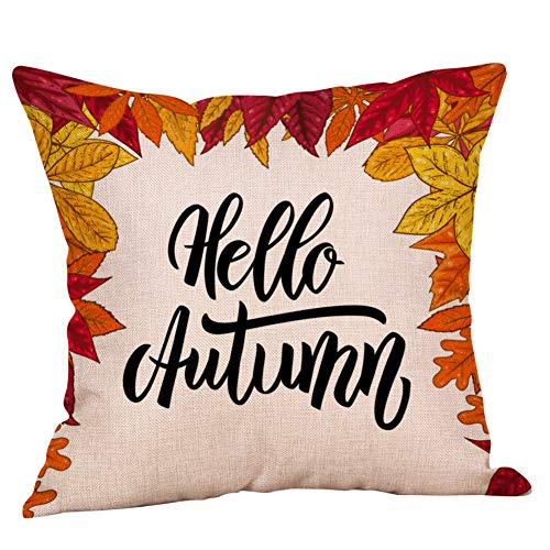 TOPBIGGER Fall Pumpkin Harvest Throw Pillow Cases Happy Halloween Cotton Linen Throw Pillow Covers 18 x 18 Inch Owl/Bat…
