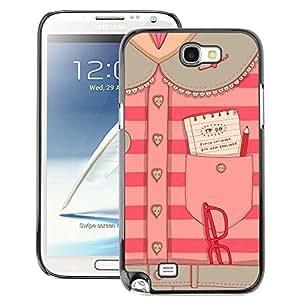 A-type Arte & diseño plástico duro Fundas Cover Cubre Hard Case Cover para Samsung Note 2 N7100 (Fashion Design Secretary Office Pink)