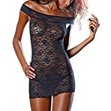 Women's Sexy One-Shoulder Lace Doll Dress G Letter Thong Underwear Black