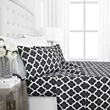 Italian Luxury 1800 Series Hotel Collection Quatrefoil Pattern Bed Sheet Set - Deep Pockets, Wrinkle and Fade Resistant, Hypoallergenic Printed Sheet and Pillow Case Set - Queen - Gray