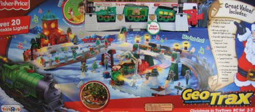 Geo Trax REMOTE Control CHRISTMAS in TOY TOWN TRAIN Set w LIGHTS & Sounds TOYS