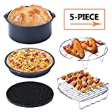 Extra Large Universal Air Fryer Accessories 5Set 8inch for 3.7, 5.3, 5.5, 5.8 QT Air Fryer, Includes Pizza Pan, Cake Pan, Silicone Mat, Metal Rack and Skewer Rack by Hasowell (8INCH)