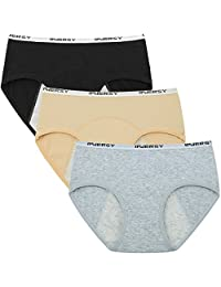 Innersy Big Girls' Menstrual Period Underwear Cotton Hipster Panties 3-Pack
