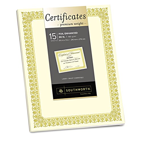 - Southworth CTP1V Premium Certificates Ivory Fleur Gold Foil Border 66 lb 8.5 x 11 15/Pack