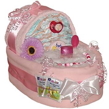 Hochwertige XXL Windeltorte für Mädchen rosa Geschenke zur Taufe Babyparty