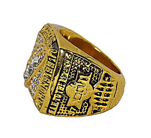 WASHINGTON REDSKINS (Mark Rypien) 1991 SUPER BOWL XXVI WORLD CHAMPIONS (Hail to the Redskins) Rare & Collectible Replica National Football League Gold NFL Championship Ring with Cherrywood Display Box