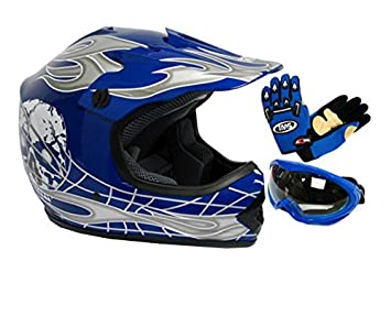 TMS Youth Kids Negro/Azul Punk Dirt Bike ATV Motocross Casco MX + anteojos +