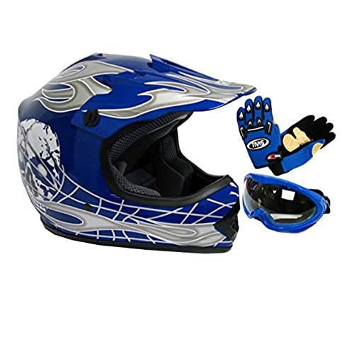 TMS Youth Kids Negro/Azul Punk Dirt Bike ATV Motocross Casco MX + anteojos + Guantes, Azul