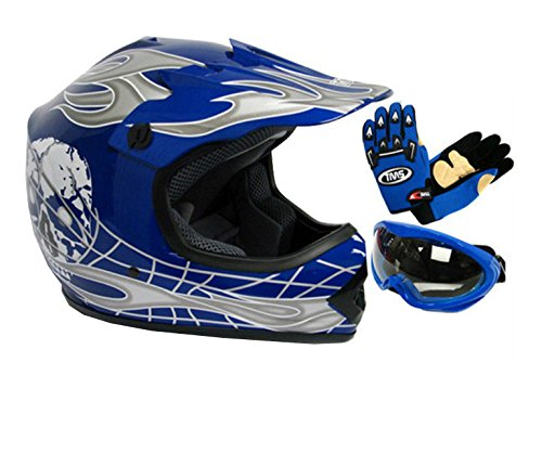 TMS Youth Kids Negro/Azul Punk Dirt Bike ATV Motocross Casco MX +...