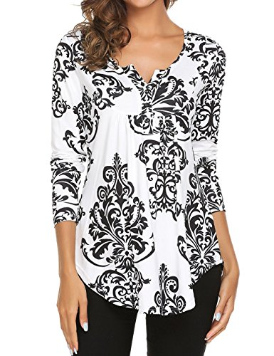 Women's Paisley Printed Long Sleeve Henley V Neck Pleated Casual Flare Tunic Blouse Shirt Black 3X