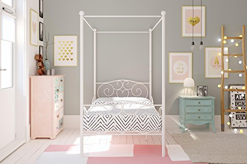 510A205nCwL - DHP Canopy Bed with Sturdy Bed Frame, Metal, Twin Size - White