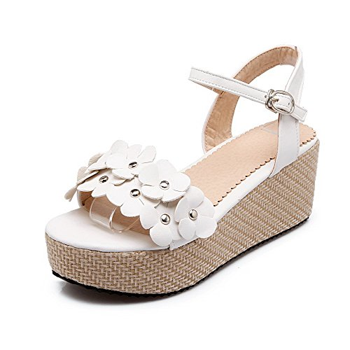 Sandals Material Women's Soft WeenFashion Buckle Solid Open White Heels Toe Kitten F1RwHB