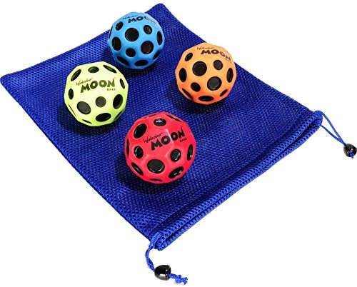 Waboba MOON Extreme Bounce Bundle of 4 Balls _ in 4 Neon Colors _ BONUS Soft Nylon Net Drawstring 9 x 12