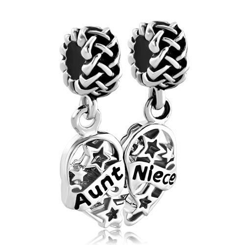 SEXY SPARKLES 1 Pair Aunt Niece Heart Love Charm For Snake Chain Charm Bracelet (1 Aunt Charm)