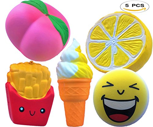 Kawaii Jumbo Squishies Slow Rising 5pcs Random Scented Fruit Charms Toy Pack Cute Lemon Peach French Fries Ice Cream Cone Emoji/Panda Best for Kids-Adults Fun Activites Party-Decorations Stress-relief (Ideas Party Random)
