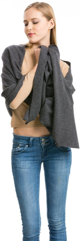 Cashmere Scarf Wrap - 100% Cashmere - by Citizen Cashmere (Dark Gray) (43 500-09-09)