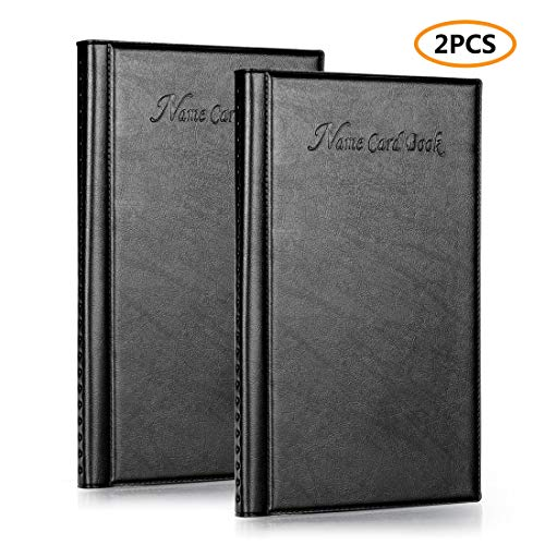 (Business Card Book Holder, Leather Business Name Credit Card Organizer, Capacity of 384 Card, Set of 2 Pack)
