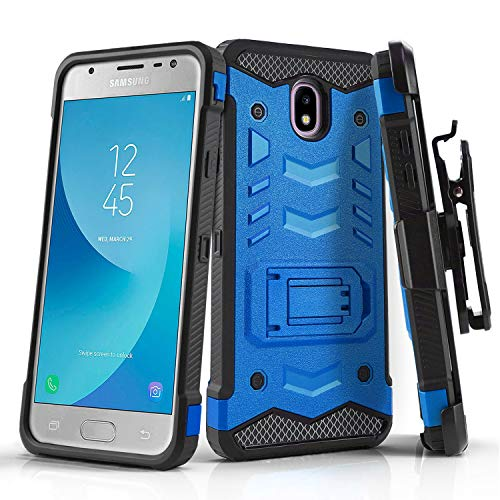 Phone Case for [Samsung Galaxy J3 Orbit (S367VL)], [Robust Series][Blue] Cover with [Kickstand] & [Holster] for Samsung Galaxy J3 Orbit (Tracfone, Simple Mobile, Straight Talk, Total Wireless)