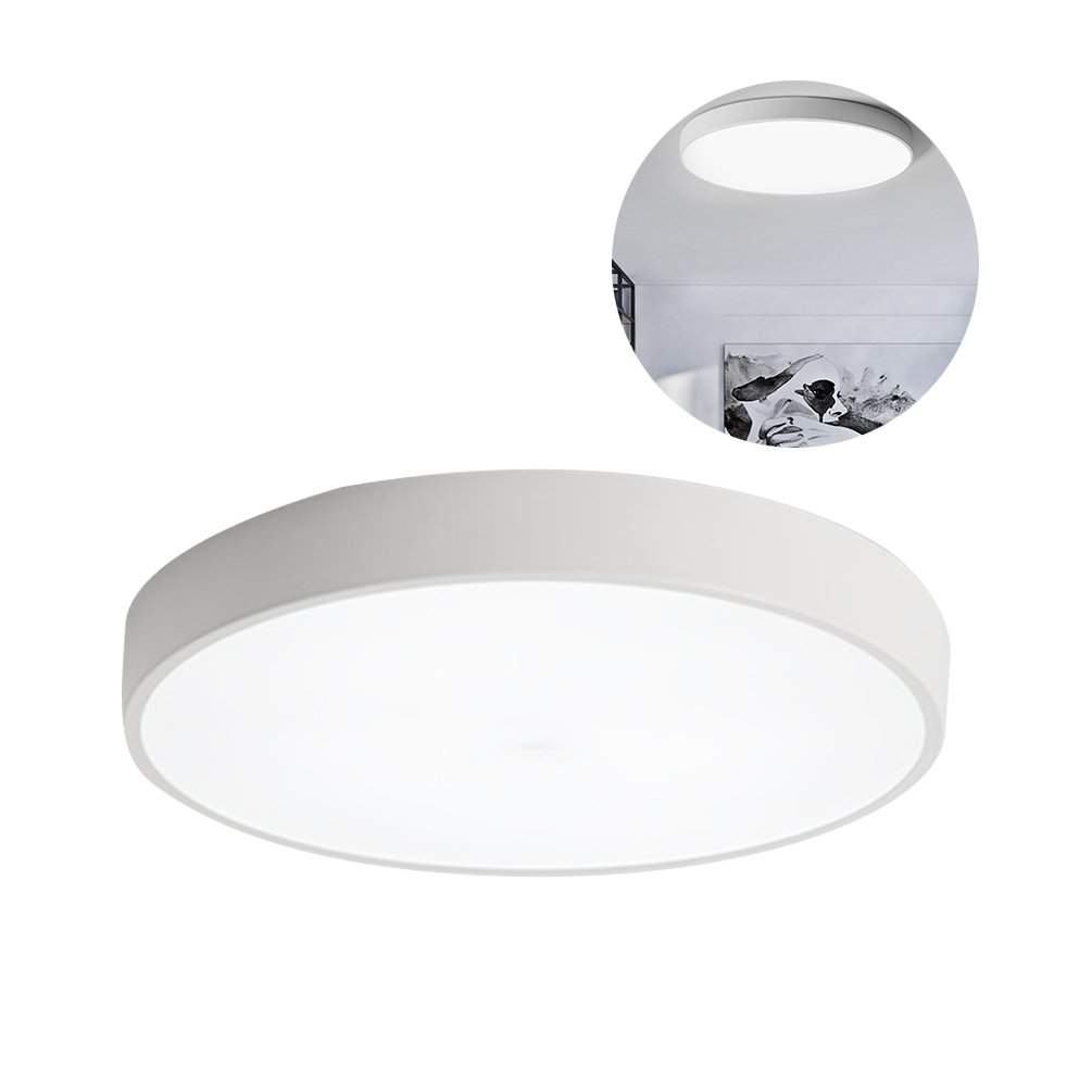 LEDGLE 8W LED Ceiling Lights, 720lm 9in Flush Mount Round Ultra-thin Ceiling Lamp Lighting, 5000K Daylight White, with Premium Lampshade for Bathroom Kitchen Hallway, White