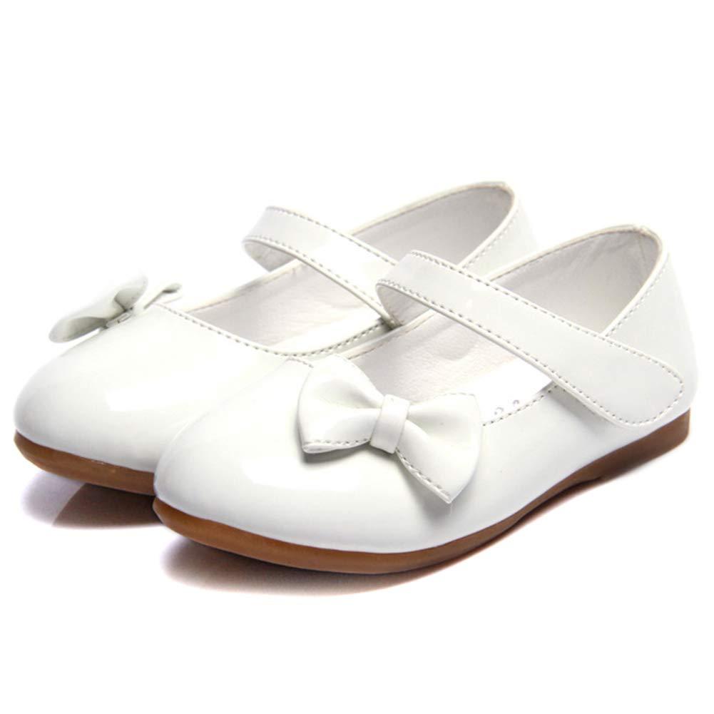 Femizee Girls Mary Jane Shoes Bow-Knot Wedding Party School Dress Ballet Flat(Toddler/Little Kid),White,1525 CN21 by Femizee (Image #2)