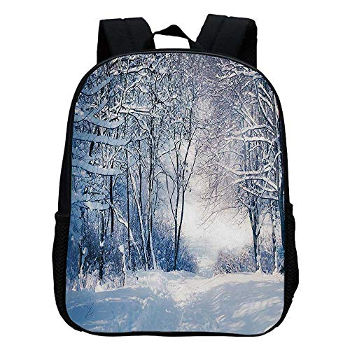 (Winter Durable Kindergarten Shoulder Bag,Alley in Snowy Forest Cold Freezing Weather Rural Nature Outdoors Woodland Decorative For school,11.8