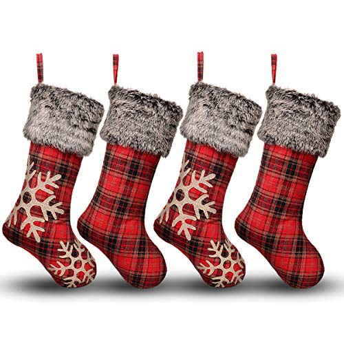 Ivenf Christmas Stockings, 4 Pack 18 Inch Large Plaid Snowflake Burlap Stockings with Plush Faux Fur Cuff, for Family Holiday Xmas Party Decorations]()