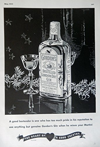 Gordon's Distilled London Dry Gin, 1935 Print Ad. B&W Illustration (a good bartender) authentic original vintage 1935 Esquire Magazine Art (Gordons London Dry Gin)