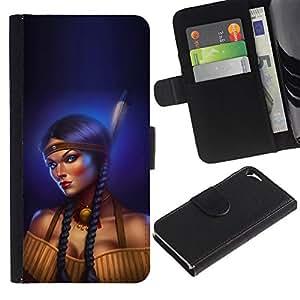 iKiki Tech / Cartera Funda Carcasa - Indian Woman Feather Long Braid Boobs - Apple iPhone 5 / 5S