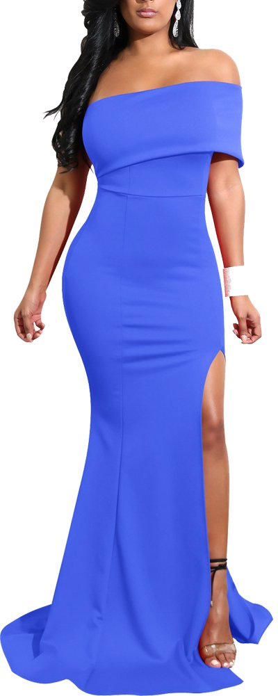 Mermaid Dresses Slit Stretchy Solid Bodycon Party Cocktail Club Long Dress 2018 Spring Summer l 8 10 Blue ¡­