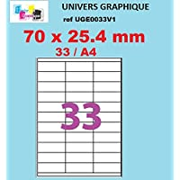 Selbstklebende Etiketten, 70x 25.4mm 100Blatt A4-33Etiketten 70x 25Für Kunstdruck Laserdrucker, Tintenstrahldrucker, Kopierer, univers Grafik Ref uge0033V1