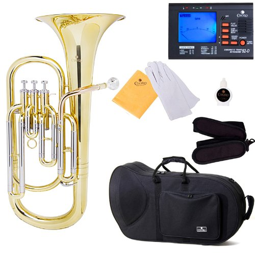 Cecilio 3Series BR-380 Intermediate Brass Bb Baritone with Stainless Steel Valves, Yellow