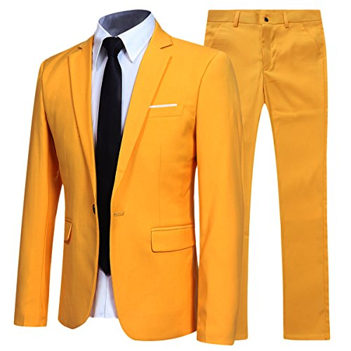 Slim Fit 2 Piece Suit for Men One Button Casual/Formal/Wedding Tuxedo,Yellow,X-Large ()