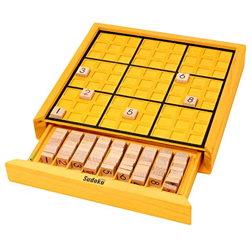 (Funrarity Wooden Sudoku Puzzle Game Board with 100 Sudoku Puzzle Bank)