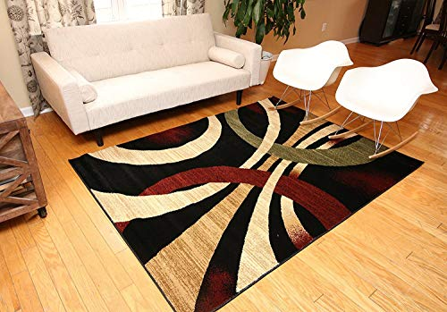 Feraghan/New City Contemporary Modern Wavy Circles Area Rug, 2' x 7', Black/Brown/Beige (Area Black Brown And Rugs Beige)