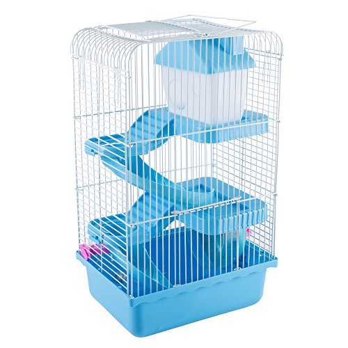 Hamster Cage Habitat, Critter/Gerbil/ Small Animal Starter Kit with Attachments/Accessories- Water Bottle, Tunnel Ladders, Wheel by PETMAKER (Blue)