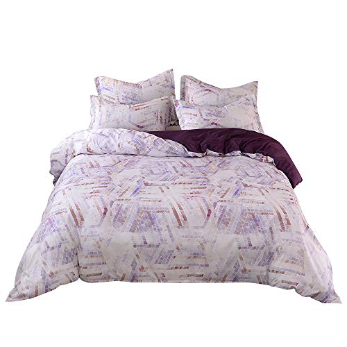 Desirable Life Microfiber Bedding Duvet Cover Sets for King Bed with Zipper Closure Corner Ties Bohemian Psychedelic Indian Pattern Soft and Breathable, 3 Piece (1 Duvet Cover + 2 Pillowcases)