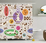 Ambesonne Dog Lover Decor Collection, Funny Pattern with Cartoon Dog Doing Yoga Position Bending Stretching Fit, Polyester Fabric Bathroom Shower Curtain Set, 75 Inches Long, Beige Purple Green