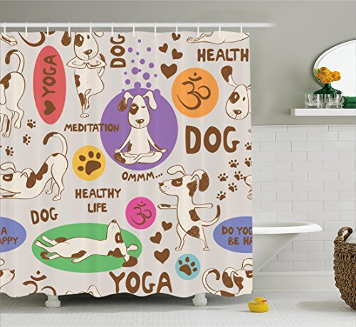 Ambesonne Dog Lover Decor Collection, Funny Pattern with Cartoon Dog Doing Yoga Position Bending Stretching Fit , Polyester Fabric Bathroom Shower Curtain Set with Hooks, Beige Purple (Cartoon Dog)
