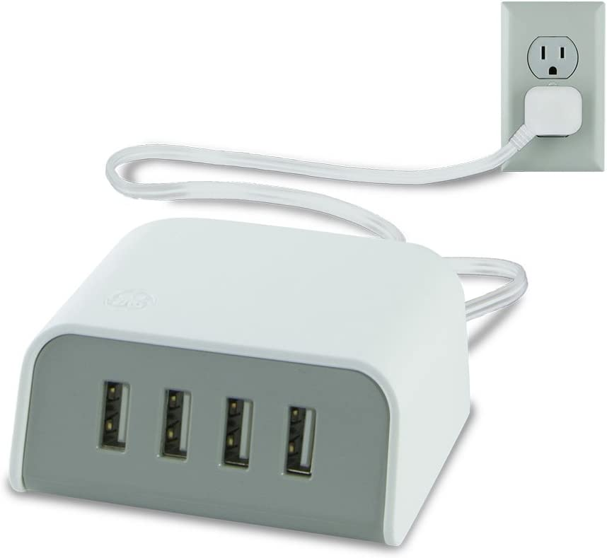 GE 36741 Desktop Charger with 4 Sub Ports Charging Station, 6 ' Power Cord, Flat Plug, 4.8 Amp, 24 W, White