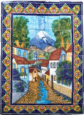 Volcano Clay Talavera Tile Mural by Fine Crafts & Imports