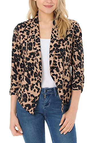 Auliné Collection Womens Casual Lightweight 3/4 Sleeve Fitted Open Blazer Leopard 3XL