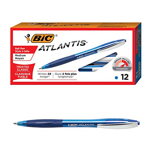 BIC Atlantis Original Retractable Ball Pen, Medium Point (1.0 mm), Blue, 12-Count (Bic Rubber Colored Pen)