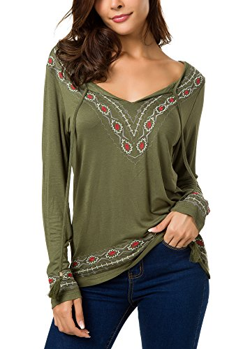 Women's Long Sleeve Boho Tops Tie Neck Embroidered Detail (XL, Army Green)