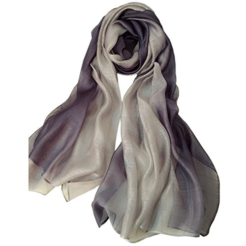 Unilove Summer Silk Scarf Gradient Color Long Lightweight Sunscreen Shawls for Women (Light Gray) -