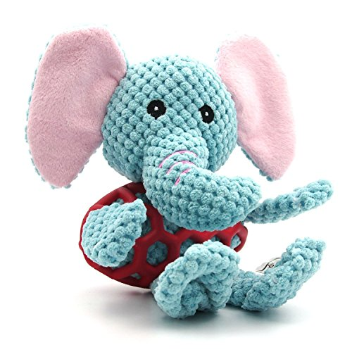 EETOYS Elephant Plush Pet Toys,Squeaky Toys with Chew Guard Rubber Coat Best for Pet (Big Squeak Elephant)