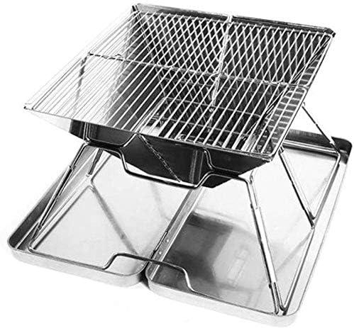 LUCKING Portable Barbecue Grill en Acier Inoxydable Pliable Barbecue Outil pour Pique-Nique Jardin Camping et Utilisation en Plein Air Charbon De Bois Grill pour 3~5 Personnes