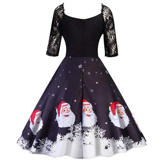 0c231548428c Vestito Donna di Gonna Natale A Abito Sweaters A Stampa Vestito Pieghe  Inverno Signore Abito Abiti Pelliccia con Stampa Giacca Piumino Cappotto  Moda ...