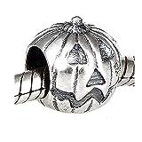 Halloween Jack-o-Lantern Pumpkin .925 Sterling Silver Bead Charm Compatible European Bracelet Jewelry