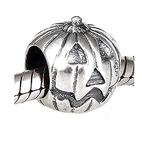 Halloween Jack-o-Lantern Pumpkin .925 Sterling Silver Bead Charm Compatible European Bracelet Jewelry -