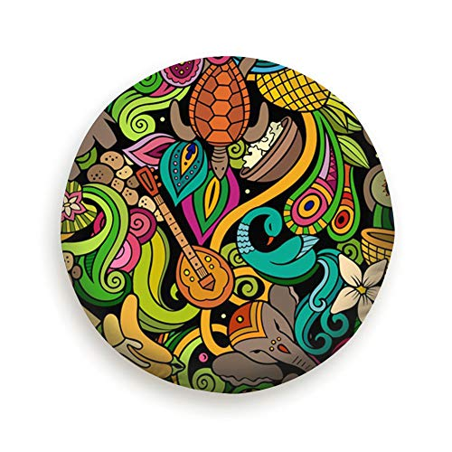 India Culture Hand Drawn Doodles Animals Wildlife Abstract Parks Outdoor Spare Tire Cover, Waterproof Dust-Proof Thicken Wheel Protectors Covers Fit 14-17 Inch 15 Inch